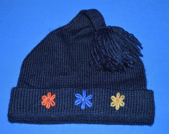 80s Blue Flowers Rip Van Winkle Bobble Winter Hat
