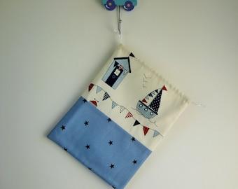 Drawstring Wash Bag for Boys, Toiletry Bag, Toilet Bag, Sponge Bag with Blue Boats and Stars