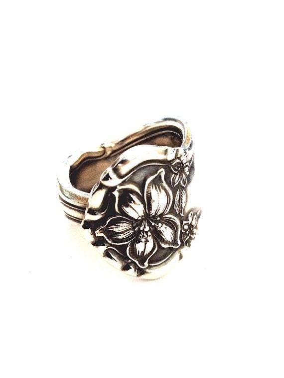 antique silver spoon ring circa 1910 by cypressstudio on etsy