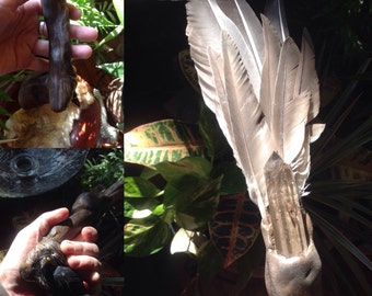 Magical One of a kind Crow Totem Smudge Fan