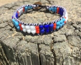 Wrap bracelet single / boho bracelet / blue tones