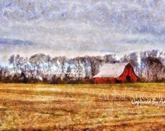 Red Barn / Rural Country Pasture Farm Wall Art Digital Paint Print