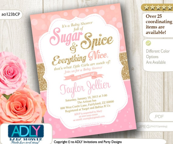 Sugar And Spice Baby Shower: Coral Pink Sugar And Spice And Everything Nice That Little