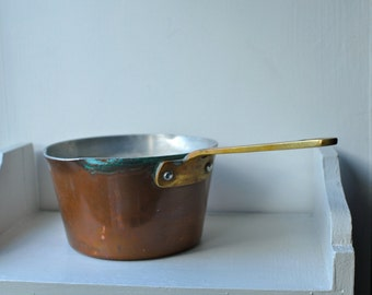 Sweet little shabby chic copper, brass handled saucepan