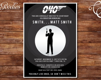 James Bond 007 Spy Invitation