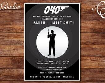 James Bond 007 Spy Invitation - Birthday Invitation, Shower Invitation, Couples Shower, 40th Birthday, 30th Birthday, 50th Birthday, Custom