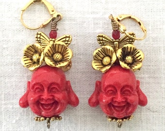 Red Buddha earrings adorned with flowers and butterflies, Buddhist jewerly, Buddha Frida, Funky fun