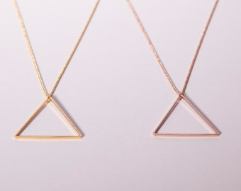 Gold Plated Necklace Triangle Golden  Or Rose Golden Necklace Minimal Jewelry Necklace Triangle Choose Your Colour