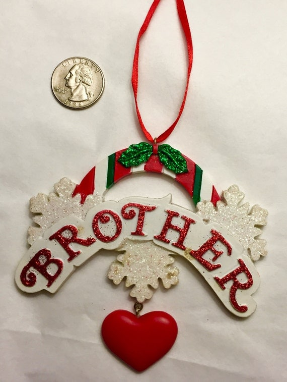Clearance brother personalized christmas ornament family for Christmas ornaments clearance