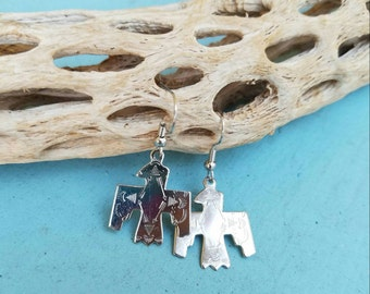 Handmade, Silver Tone Thunderbird Native American Earrings