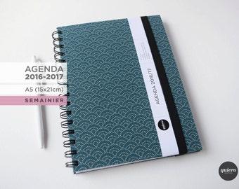 Agenda A5 - 2016-2017 - Japanese chart Turquoise - 15x21cm