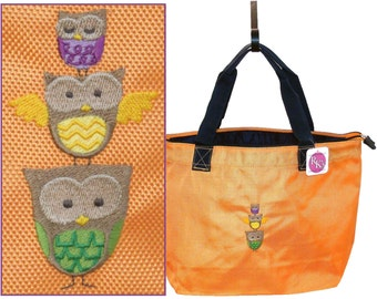 Colorful Owl Stack Splash Tote Bag Custom Embroidered Bird Family