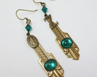 Wizard of Oz Earrings Dangles Emerald City OZ Jewelry Emerald Green Art Deco Earrings Art Deco Jewelry