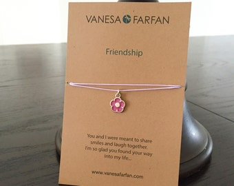 Friendship Necklace, Flower Choker, Silver, for Kids, Girls and Women, Adjustable, in 16 Colors