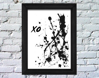 Digital, Instant Download, xo, paint splatter, black and white, minimalism, Inspiration, Poster, 8x10, LeBoer