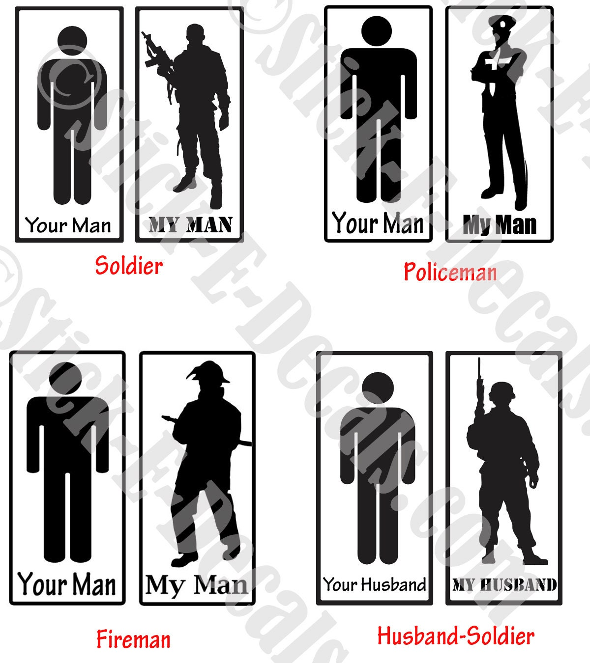 Assorted My Man Vs Your Man Army Military Police Cop Fireman