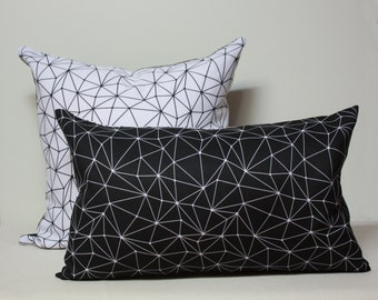 Stellar Black and white double sided pillow cover, positive negative pattern, black and white pillow cover, star pillow cover, modern pillow