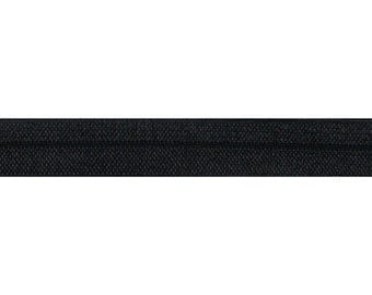 "Black - 5 Yards Solid FOE - 5/8"" Fold Over Elastic - 5/8-S-066"