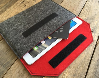 iPad Pro Case / iPad Pro Sleeve / iPad Pro Cover - Mottled Dark Grey and Choice of Inner Colours - 100% Wool Felt