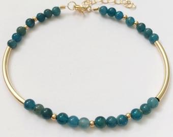 Apatite & Gold Filled Tube Bead Bracelet