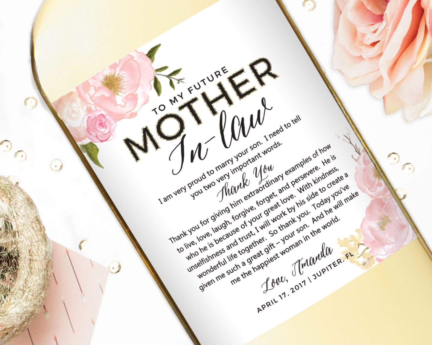 Wedding Gift For Mother In Law: Wedding Gift Wine Labels For Parents Mother Of The Bride
