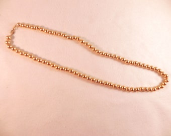 Vintage Necklace Napier Gold Tone Metal Beads on  24 Inch Chain Marked
