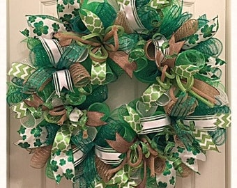 st patrick 39 s day irish blessings deco mesh wreath saint. Black Bedroom Furniture Sets. Home Design Ideas