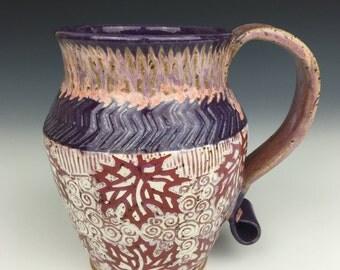 Large mug, ceramic mug, pottery mug, ceramic cup, pottery cup, purple mug, leaf design, handmade mug, handled mug