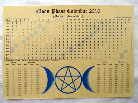 Moon Phase LUNAR CALENDAR 2017 or 2016 Parchment Poster wicca pagan spell astrology