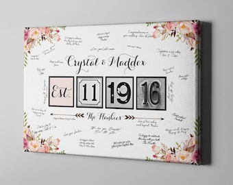 SALE 50% Off Canvas Guest Book, Wedding Canvas Guest Book, Boho Floral Guest Book, Canvas Anniversary Gift Keepsake for Couples - CGB18