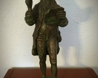 Vintage Austin Productions Copper Brass Tone Ceramic Colonial Town Crier Statue