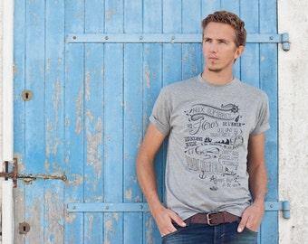 T-shirt homme sérigraphié gris chiné, marin, ocean, mer, noir desir, chanson francaise
