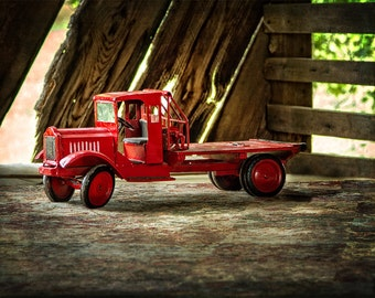 Red Toy Truck Photograph, Antique Toy Truck Fine Art Print,  Rustic Fine Art Photography