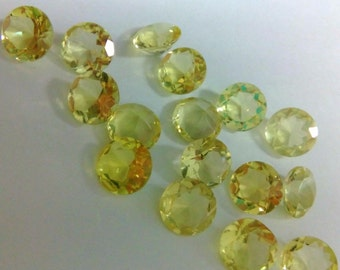 10 Pieces Lot Lemon Quartz Round Shape Faceted Cut Gemstone