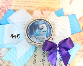 Inside Out Inspired Bottle Cap Hair Bow - Inside Out Hair Bow - Emotions Hair Bow - Fear Hair Bow - Joy - Sadness - Disgust - Anger
