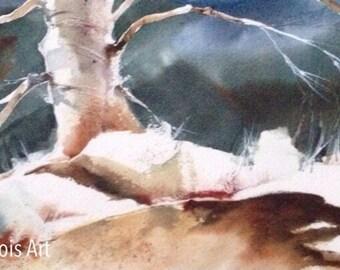 Watercolor Art Print, Winter Skies, Trees, Nighttime, Nocturnal, Cloud Art, Wall Decor, Moonlight, Home Decor, Pamela Harnois, Gift
