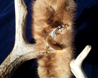 Recycled Vintage Jeweled Mink Cuff
