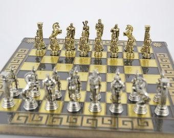 Greek Warrior Chess Set (28X28) / Bronze chess board