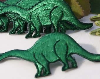 Vintage Iron On Dinosaur Applique, Green Dinosaur Embroidery Applique, Vintage Embroidered Iron On Applique Animals #1313