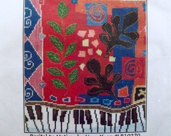 Counted Cross Stitch Kit~RECITAL TO MATISSE~piano mod op art~Ladybug Designs~repackage