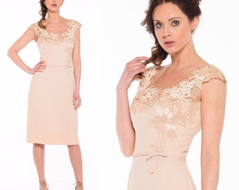 SHE'S NO ILLUSION - 1960s Peggy Hunt Illusion Embroidered Lace Dress in Latte and Ivory, Medium, modern size 6