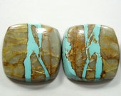 natural ROYSTON TURQUOISE, beautifully patterned book matched cabochon PAIR, 14.71 carats, 14.2 x 14.2 mm, old stock, Nevada