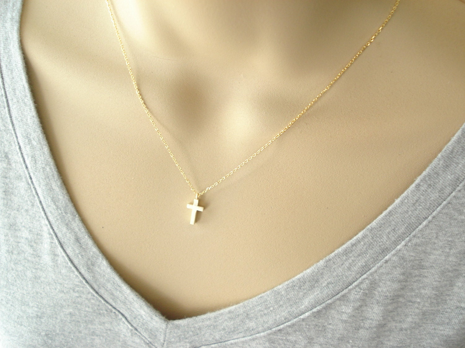 Tiny Gold Cross Necklace Simple Everyday Wear Bridal