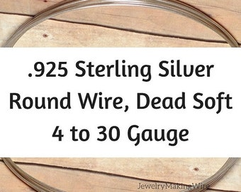 15% OFF Sterling Silver Wire, Round, Dead Soft, 4 6 8 10 11 12 13 14 16 18 19 20 21 22 24 26 28 30 Gauge, Jewelry Making Wire