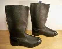 Vintage Black Leather Motorcycle Men's Non Steel Toe Riding Biker Tall Pull On Boots Size 10