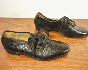 Vintage Made in USA Black Leather Men's Swinger Dress Professional Gangster Shoes Oxfords Size 9.5 Medium