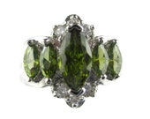 Marquis Cut Olivine Crystal CZ 925 Sterling Plate Rhodium Finished Navette Cocktail Ring Size 8