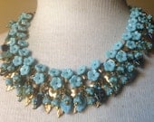 Gorgeous Gorgeous Miriam Haskell Intricate Vibrant Turquoise Floral Gold Leaves Bib Fringe Necklace Signed Haskell PATENT 3427691
