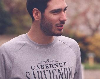 Sweatshirt Man Cabernet Sauvignon, typography, french wine, gift for girlfriend, Burgundy