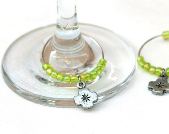 Hostess gift, Chartreuse wine charm set of 6 elegant wine charms with chartreuse beads, Holiday gift (11024)